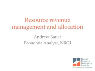 Resource revenue management and allocation