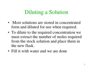 Diluting a Solution
