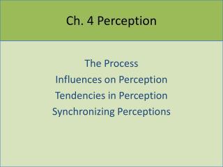 Ch. 4 Perception