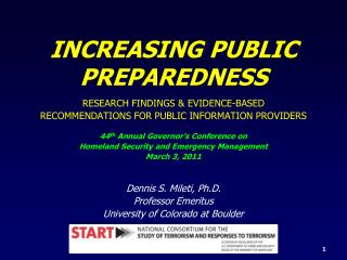 INCREASING PUBLIC   PREPAREDNESS