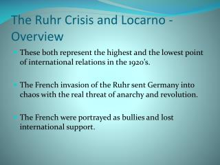 The Ruhr Crisis and Locarno - Overview