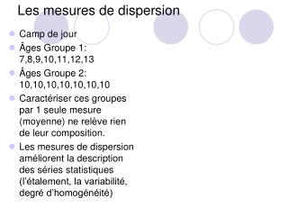 Les mesures de dispersion