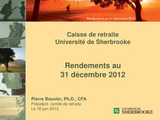 Rendements au  31 d�cembre 2012