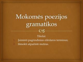 Mokomės poezijos gramatikos