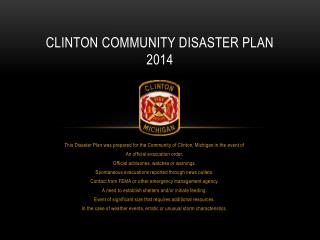 Clinton Community Disaster Plan 2014