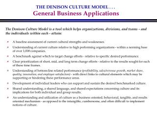 THE DENISON CULTURE MODEL . . .  General Business Applications