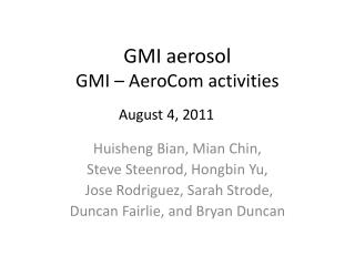 GMI aerosol GMI –  AeroCom  activities