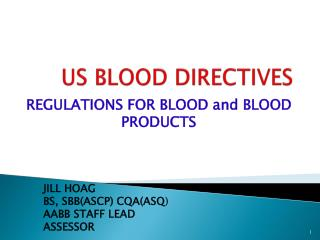 US BLOOD DIRECTIVES