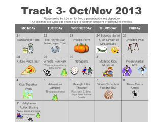 Track 3 Calendar Oct Nov 2013