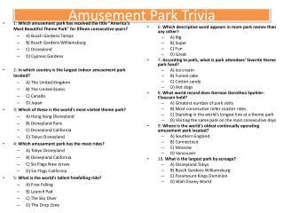 Amusement Park Trivia