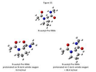 N-acetyl-Pro- NMe protonated on N-term amide oxygen 0.0 kJ/mol