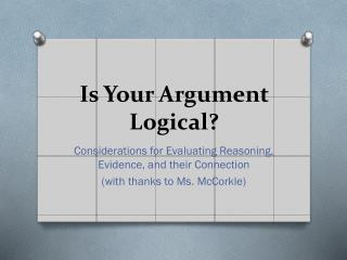 Is Your Argument   Logical?