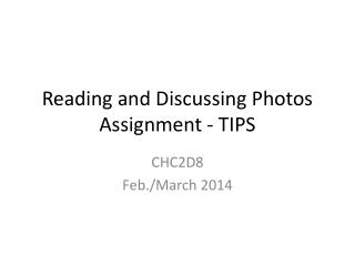 Reading and Discussing Photos Assignment - TIPS