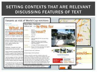 Setting contexts THAT ARE relevant discussing features of text