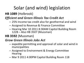 Solar (and wind) legislation