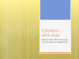 Citations – APA style
