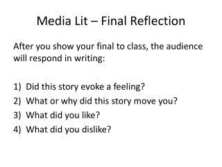 Media Lit – Final Reflection