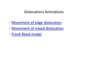 Dislocations Animations