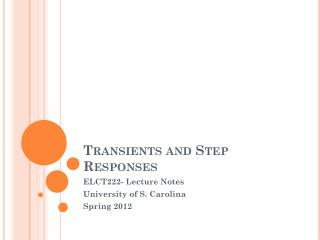 Transients and Step Responses