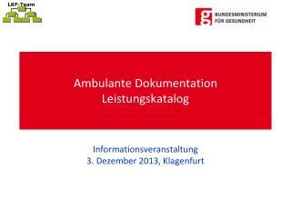 Ambulante Dokumentation  Leistungskatalog