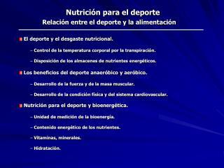 Nutrici n para el deporte