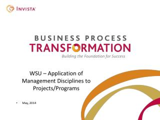 WSU – Application of Management Disciplines to Projects/Programs