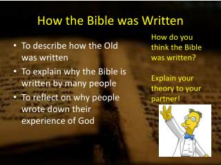 How the Bible was Written