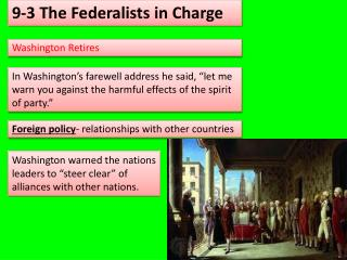 9-3 The Federalists in Charge