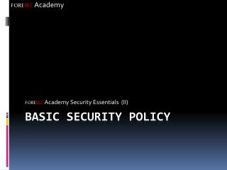 Basic Security Policy