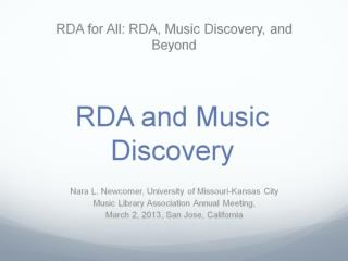RDA and Music Discovery