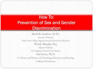 How To:  Prevention of Sex and Gender Discrimination