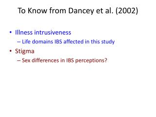To Know from  Dancey  et al. (2002)