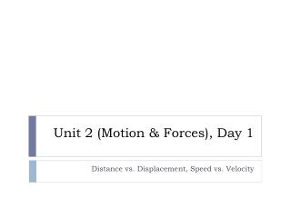 Unit 2 (Motion & Forces), Day 1