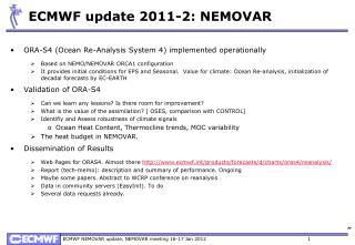 ECMWF update 2011-2: NEMOVAR