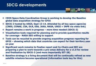 SDCG developments