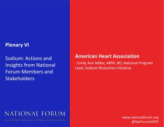 Plenary VI Sodium : Actions and Insights from National Forum Members and Stakeholders