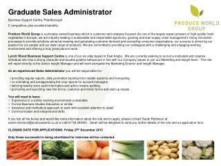 Graduate Sales Administrator Business Support Centre, Peterborough