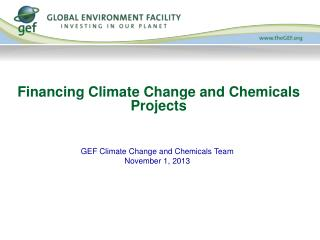 Financing Climate Change and Chemicals Projects