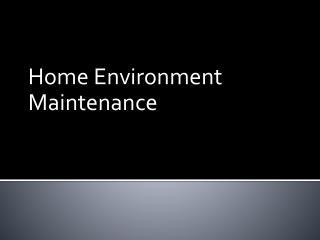 Home Environment Maintenance