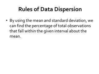Rules of Data Dispersion