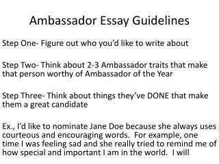 Ambassador Essay Guidelines