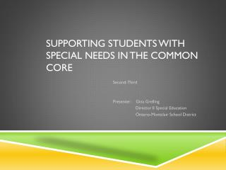 Supporting students with special needs in the common core