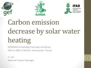 Carbon emission decrease  by solar water heating
