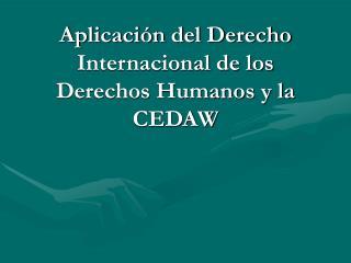Aplicaci n del Derecho Internacional de los Derechos Humanos y la CEDAW