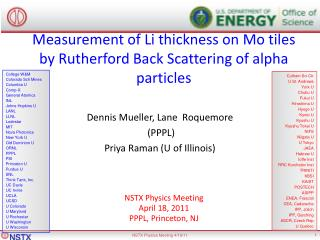 Measurement of Li thickness on Mo tiles by Rutherford Back Scattering of alpha particles