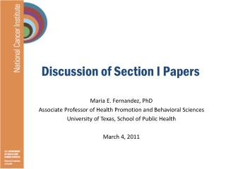 Discussion of Section I Papers