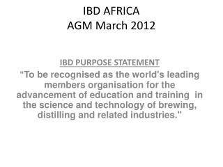 IBD AFRICA  AGM March 2012