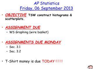 AP  Statistics Friday, 06 September 2013