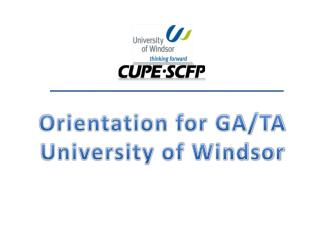 Orientation for GA/TA University of Windsor