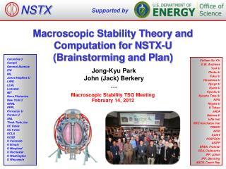 Macroscopic Stability Theory and Computation for NSTX-U (Brainstorming and Plan)